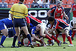 30 April 2005: Kansas City's Vince Pastorino looks up at the referee to show that he is not interfering with the ball in the ruck. The Kansas City Blues defeated the Philadelphia Whitemarsh RFC 41-14 at the Arrowhead Stadium in Kansas City, Missouri in a Rugby Super League regular season game. .