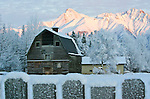 An old colony barn sits behind a frosty fence and in front of Matanuska Peak in the Chugach Range near Palmer, Alaska.