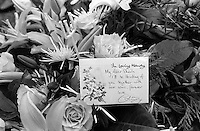 Pix: Copyright Anglia Press Agency/Archived via SWpix.com. The Bamber Killings. August 1985. Murders of Neville and June Bamber, daughter Sheila Caffell and her twin boys. Jeremy Bamber convicted of killings serving life...copyright photograph>>Anglia Press Agency>>07811 267 706>>..Flowers from Colin Caffell, husband of murdered Sheila and and father of twins. no date..ref 0003 neg 16...