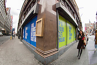 Retail space available in The Chelsea neighborhood in New York seen on Thursday, March 28, 2013. (© Frances M. Roberts)
