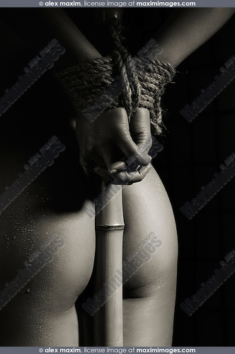 Closeup of a naked woman with her hands tied with bondage rope to a bamboo stick