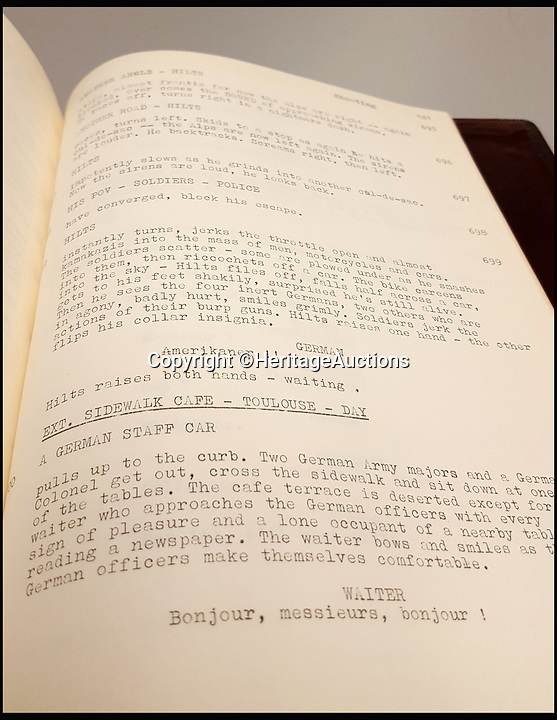 BNPS.co.uk (01202 558833)<br /> Pic: HeritageAuctions/BNPS<br /> <br /> McQueen's annoted Great Escape script.<br /> <br /> The script belonging to actor Steve McQueen for The Great Escape which is covered in his suggestions for scenes and his character has sold for ten times its estimate.<br /> <br /> McQueen's personal script for the classic 1963 war film was estimated to fetch &pound;4,000 at auction but sold for a whopping &pound;40,325 ($50,000).<br /> <br /> It was one of 18 McQueen scripts being sold by a collector who knew McQueen at Heritage Auctions in America. The whole collection had an estimate of &pound;50,000 but smashed the expected price, making a total of &pound;203,343 ($252,125).