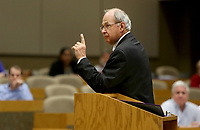NWA Democrat-Gazette/DAVID GOTTSCHALK  Former Chief Justice Howard Brill speaks Thursday, April 20, 2017, on Ethics and the Arkansas Supreme Court: Insights from 16 Months, inside the E.J. Ball Courtroom on the campus of the University of Arkansas in Fayetteville.