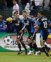 Chris Wondolowski of Earthquakes celebrates with teammates after Wondolowski made an assist to Gjertsen's goal during the second half of the game against Red Bull at Buck Shaw Stadium in Santa Clara, California.  San Jose Earthquakes defeated New York Red Bulls, 4-0.