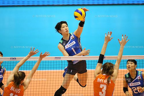 Miyu Nagaoka (JPN), <br /> MAY 22, 2016 - Volleyball : <br /> Women's Volleyball World Final Qualification <br /> for the Rio de Janeiro Olympics 2016 <br /> match between Japan 3-2 Netherlands <br /> at Tokyo Metropolitan Gymnasium, Tokyo, Japan. <br /> (Photo by YUTAKA/AFLO SPORT)