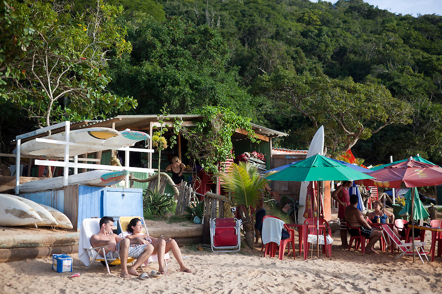 Beachside kiosks at Forno Beach, Buzios.