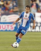 Philadelphia Union midfielder Daniel Cruz (44) brings the ball forward. In a Major League Soccer (MLS) match, the New England Revolution tied Philadelphia Union, 0-0, at Gillette Stadium on September 1, 2012.