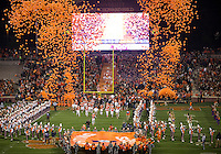 The eighth ranked Clemson Tigers defeat the Georgia Tech Yellow Jackets at Death Valley 55-31 in an ACC matchup.  Clemson Tigers enter the stadium.