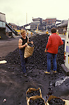Miners strike 1984. Working Miners get their free coal alloance. Shirebrook Colliery Derbyshire.  Striking Miners are unable to collect their coal allowance.