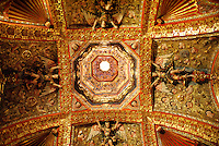 Decorated ceiling of the Camarin de la Virgen de Loreto in the Iglesia de San Francisco Javier, Tepotzotlan, Mexico. The San Francisco Javier Church and adjoining former Jesuit monastery now house the National Museum of the Viceroyalty or Museo Nacional de Virreinato.