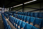 Clitheroe 0 Consett 1, 20/08/2016. Shawbridge, Northern Premier League Division One North. Vintage wooden seats, once part of Blackburn Rovers' Ewood Park, now in the main stand at Clitheroe, pictured before the club played Consett at Shawbridge in an FA Cup preliminary round tie. Northern Premier League division one north team Clitheroe were formed in 1877 and have played at the same ground since. Visitors Consett, from the Northern League division one, won the match 1-0, watched by 207 spectators. Photo by Colin McPherson.