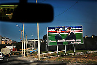 A billboard showing Russian president Dmitry Medvedev shaking hands with Chechen president Ramzan Kadyrov. Billboards like this are placed all around the city.