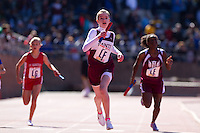 Sidonie Warnecker anchors the Pope John Paul II team to victory in the Philadelphia Archdiocese Junior Girls 4x100 at the Penn Relays on April 23. Lindsey Kuhn, Siani Richardson, Peyton Griffin ran the first three legs respectively. The Saints finished in a time of 56.88 seconds.