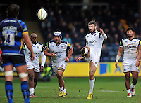 Matt Banahan of Bath Rugby kicks for touch. Aviva Premiership match, between Worcester Warriors and Bath Rugby on February 13, 2016 at Sixways Stadium in Worcester, England. Photo by: Patrick Khachfe / Onside Images