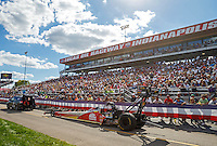 Sep 3, 2016; Clermont, IN, USA; NHRA top fuel driver Doug Kalitta during qualifying for the US Nationals at Lucas Oil Raceway. Mandatory Credit: Mark J. Rebilas-USA TODAY Sports