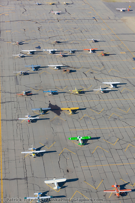 Airplanes on the tarmac of the Fairbanks small plane airport.