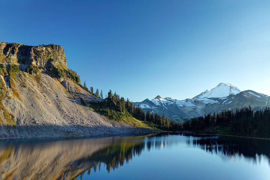 Mount Baker and Table Mountain rise above Iceberg Lake, North Cascades, Washington State