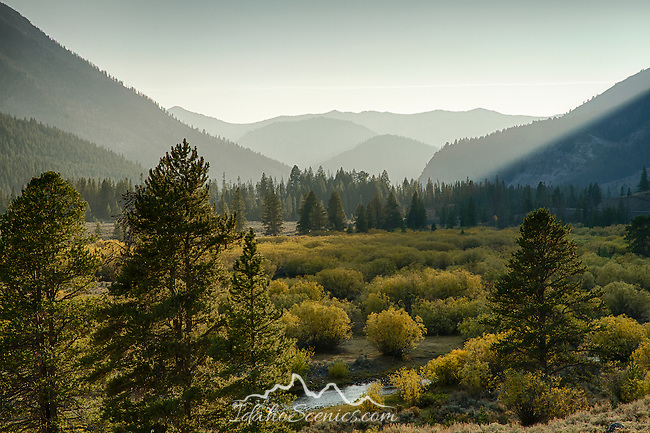 Idaho, South Central, Salmon Challis National Forest, MacKay. The Big Lost River and autumn foliage between the Pioneer and Boulder Mountains.