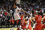 "Ole Miss' Reginald Buckner (23) fouls Illinois State's Anthony Cousin (5) in a National Invitational Tournament game at the C.M. ""Tad"" Smith Coliseum in Oxford, Miss. on Wednesday, March 14, 2012. Illinois State won 96-93 in overtime. (AP Photo/Oxford Eagle, Bruce Newman)"