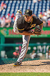 25 July 2013: Pittsburgh Pirates pitcher Bryan Morris on the mound against the Washington Nationals at Nationals Park in Washington, DC. The Nationals salvaged the last game of their series, winning 9-7 ending their 6-game losing streak. Mandatory Credit: Ed Wolfstein Photo *** RAW (NEF) Image File Available ***