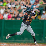 12 July 2015: West Virginia Black Bears outfielder Ty Moore in action against the Vermont Lake Monsters at Centennial Field in Burlington, Vermont. The Lake Monsters rallied to defeat the Black Bears 5-4 in NY Penn League action. Mandatory Credit: Ed Wolfstein Photo *** RAW Image File Available ****