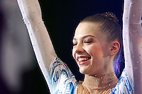 Melitina Staniouta of Belarus celebrates during Event Finals awards ceremony at 2009 World Cup at Portimao, Portugal on April 19, 2009.  (Photo by Tom Theobald).