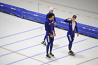 SCHAATSEN: HEERENVEEN: 15-09-2014, IJsstadion Thialf, Topsporttraining, Yvonne Nauta, Gianni Romme (trainer Team Continu), Ireen Wüst, ©foto Martin de Jong