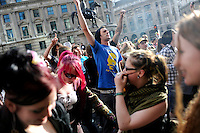 Demonstrators dance outside the Bank of England as thousands of protestors descended on the City of London ahead of the G20 summit of world leaders to express anger at the economic crisis, which many blame on the excesses of capitalism.