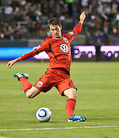 CARSON, CA – June 3, 2011: DC United forward Blake Brettschneider (29) takes a shot on goal during the match between LA Galaxy and DC United at the Home Depot Center in Carson, California. Final score LA Galaxy 0, DC United 0.