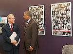 Ohio University President Roderick McDavis (Right) greets Ohio Attorney General Mike DeWine at Ohio University's Women's Center. Photo by Ben Siegel/ Ohio University