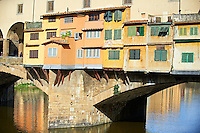 "The medieval The Ponte Vecchio (""Old Bridge"") crossing the River Arno in the hiostoric centre of Florence, Italy, UNESCO World Heritage Site."
