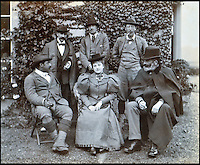 BNPS.co.uk (01202 558833)<br /> Pic: Lawrences/BNPS<br /> <br /> The 5th Earl of Carnarvon (back right) and Carnarvon's then wife, Almina, Countess of Carnarvon (centre) with companions.<br /> <br /> An intimate set of portraits of the real Downton Abbey which include the visit of the future king have been unearthed after more than 120 years.<br /> <br /> The magnificent 19th century Highclere Castle, in Hampshire, was home to George Herbert, fifth Earl of Carnarvon, and his wife Almina Herbert in the late 19th and early 20th century.<br /> <br /> The album, which is up for auction, contains 44 large mounted photographs of the house, staff and estate of Highclere in 1895.<br /> <br /> Included are images of Carnarvon with his wife Almina, various shooting parties including one involving Prince Edward (the future Edward VII) and the house staff.