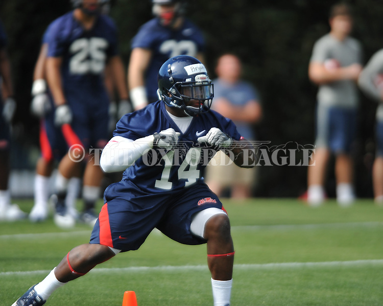 Ole Miss' Sederius Bryant (14) at  spring practice in Oxford, Miss. on Friday, March 23, 2012. (AP Photo/Oxford Eagle, Bruce Newman)