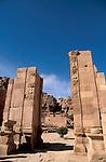 Jordan, Petra. The Colonnaded Street and Qasr Al Bint&amp;#xA;<br />