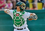 19 July 2012: Vermont Lake Monsters catcher Bruce Maxwell in action against the Tri-City ValleyCats at Centennial Field in Burlington, Vermont. The ValleyCats defeated the Lake Monsters 6-3 in NY Penn League action. Mandatory Credit: Ed Wolfstein Photo
