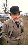 Tweed suit and bowler hat at the Badminton Horse trials Gloucestershire England