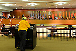 Feb. 25, 2013 - Mineola, New York, U.S. - Dr. IRENE HYLTON, of Westbury, speaks at podium against the controversial proposed Redistricting map during Nassau County Legislature meeting. The legislature postponed the vote on the map shortly before 1 AM the morning of February 26, nearly 12 hours after the meeting started on 1:30 PM Feb. 25.