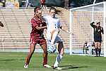 03 November 2013: North Carolina's Kealia Ohai (7) and Boston College's Casey Morrison (3). The University of North Carolina Tar Heels hosted the Boston College Eagles at Fetzer Field in Chapel Hill, NC in a 2013 NCAA Division I Women's Soccer match and the quarterfinals of the Atlantic Coast Conference tournament. North Carolina won the game 1-0.