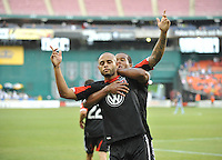 Kyle Porter (19) of D.C. United celebrates his score in he 65th minute of the game. D.C. United tied The Sporting Kansas City 1-1, at RFK Stadium, Sunday May 19, 2013.