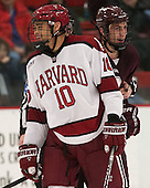 Brayden Jaw (Harvard - 10), Kyle Baun (Colgate - 12) - The Harvard University Crimson defeated the Colgate University Raiders 4-1 (EN) on Friday, February 15, 2013, at the Bright Hockey Center in Cambridge, Massachusetts.