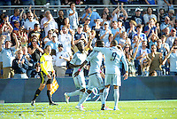 Sporting KC platers celebrate C.J Sapong's goal...Sporting Kansas City defeated New York Red Bulls 2-0 at LIVESTRONG Sporting Park, Kansas City, Kansas.
