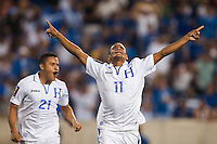 Honduras midfielder Rony Martinez (11) celebrates scoring. Honduras defeated Haiti 2-0 during a CONCACAF Gold Cup group B match at Red Bull Arena in Harrison, NJ, on July 8, 2013.