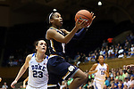 01 February 2016: Notre Dame's Lindsay Allen (15) and Duke's Rebecca Greenwell (23). The Duke University Blue Devils hosted the University of Notre Dame Fighting Irish at Cameron Indoor Stadium in Durham, North Carolina in a 2015-16 NCAA Division I Women's Basketball game. Notre Dame won the game 68-61.
