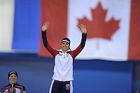 SPEEDSKATING: CALGARY: 15-11-2015, Olympic Oval, ISU World Cup, Podium 1500m Ladies, winner Brittany Bowe (USA), ©foto Martin de Jong