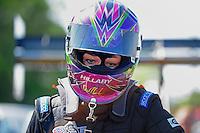 May 6, 2012; Commerce, GA, USA: NHRA top fuel dragster driver Hillary Will during the Southern Nationals at Atlanta Dragway. Mandatory Credit: Mark J. Rebilas-