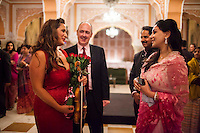 (L-R) Australian violinist Niki Vasilakis, Australia's High Commissioner to India Dr. Lachlan Strahan, Maharaj Narendra Singh and Princess Diya Kumari of the Royal Family of Jaipur share a light conversation after her solo violin concert played to a prominent audience, including the Jaipur Royal Family, and other VIPs at the OzFest Gala Dinner in the Jaipur City Palace, in Rajasthan, India on 10 January 2013. Photo by Suzanne Lee