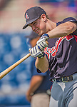 11 March 2013: Atlanta Braves outfielder Todd Cunningham awaits his turn in the batting cage prior to a Spring Training game against the Washington Nationals at Space Coast Stadium in Viera, Florida. The Braves defeated the Nationals 7-2 in Grapefruit League play. Mandatory Credit: Ed Wolfstein Photo *** RAW (NEF) Image File Available ***