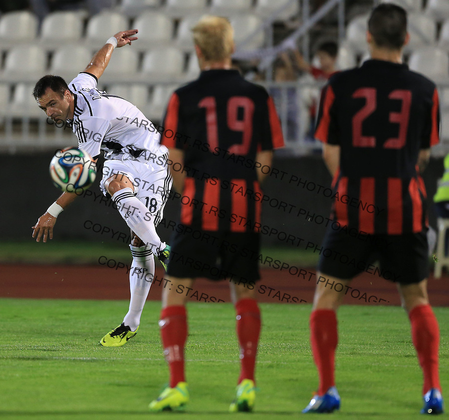 Fudbal Football Soccer<br /> UEFA Champions league-2nd qualifying round<br /> Partizan v HB Torshavn (Faroe Islands)<br /> Nikola Drincic (L)<br /> Beograd, 07.15.2014.<br /> foto: Srdjan Stevanovic/Starsportphoto &copy;