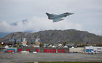 German Eurofighter takes off from Bod&oslash; airport in Norway. The military Arctic Challenge Exercise 2015 (ACE 15) is a large crossborder exercise, with flying in Norway, Sweden and Finland. Airforce aircraft from these countries as well as NATO aircraft from Germany and Great Britain train together in a vast airspace.<br /> (photo: Fredrik Naumann/Felix Features)