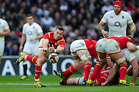 Gareth Davies of Wales passes the ball. RBS Six Nations match between England and Wales on March 12, 2016 at Twickenham Stadium in London, England. Photo by: Patrick Khachfe / Onside Images